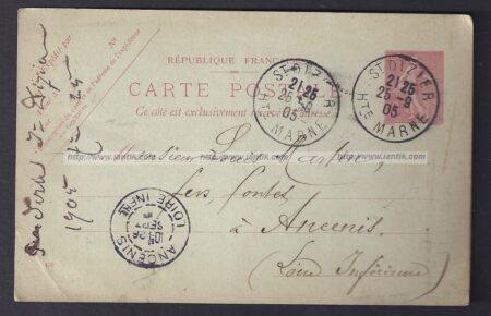 1905 Entier Semeuse repiqué SAINT DIZIER recto