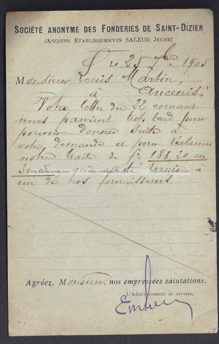 1905 Entier Semeuse repiqué SAINT DIZIER verso