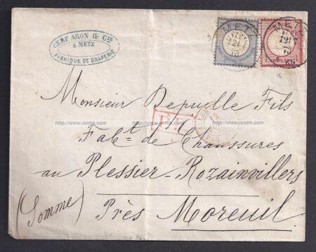 Lettre de METZ Alsace Lorraine recto