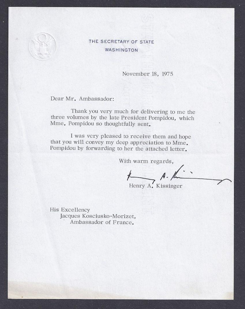 Autographe Henry Kissinger