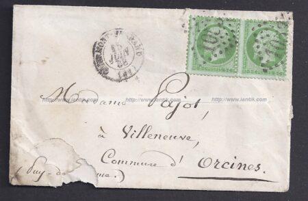 Paire Napoléon YT 20 sur lettre recto