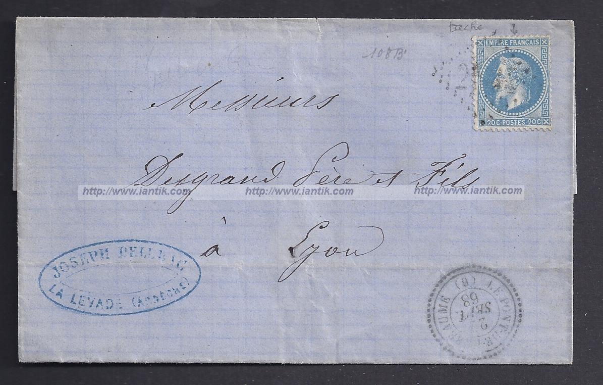 1868 Variété YT 29A sur lettre + Ambulant #MARSEILLE -rectosur iantik.com et @ebay #iantik #philatélie #philately #histoire #history #timbres #poste #stamps #lyon
