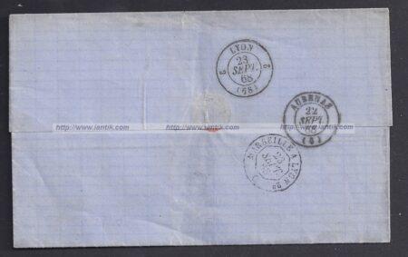 1868 Variété YT 29A sur lettre + Ambulant #MARSEILLE - verso