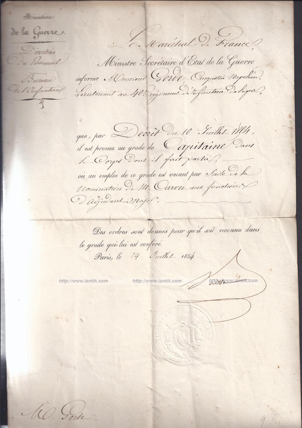 Autographe Maréchal Vaillant partie 1